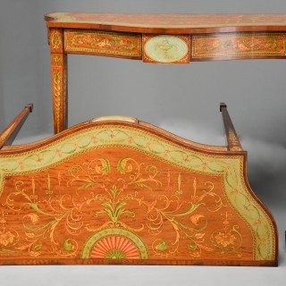 Superb pair of Sheraton revival satinwood & painted serpentine shaped console tables