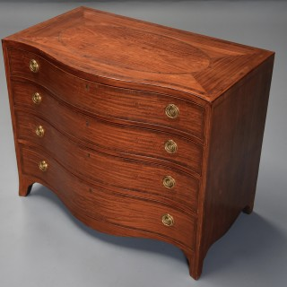 Late 18thc superb quality serpentine shaped satinwood gentleman's dressing chest
