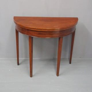 George III Scottish Inlaid Mahogany Foldover Table