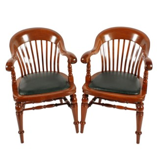 Pair of Victorian Mahogany Desk Chairs