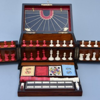 Late 19th century coromandel fitted games compendium by 'Leuchars & Son, 38 & 39 Piccadilly, London'