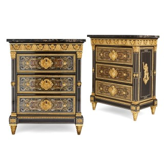 Pair of gilt bronze mounted Boulle marquetry cabinets