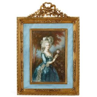 French miniature portrait of Marie Antoinette