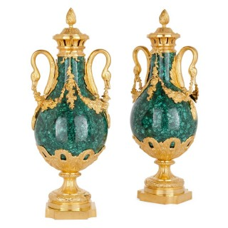 Pair of Louis XVI style gilt bronze and malachite vases