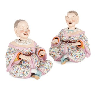 Pair of porcelain nodding head figurines by Ernst Bohne Söhne