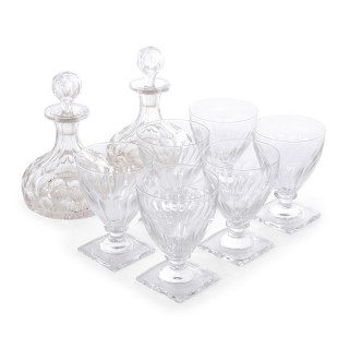 Pair of French cut glass decanters with six glasses