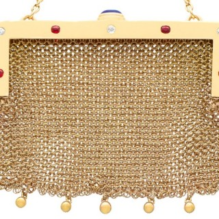 0.68ct Sapphire and 0.32ct Ruby, 0.21ct Diamond and 14ct Yellow Gold Purse - Antique Circa 1910