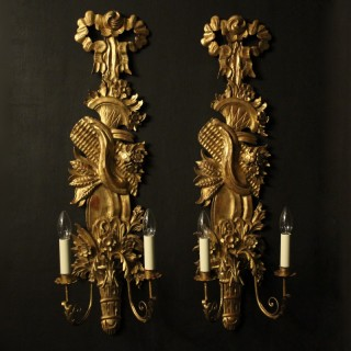 French Pair Of Giltwood Leaf Wall Lights