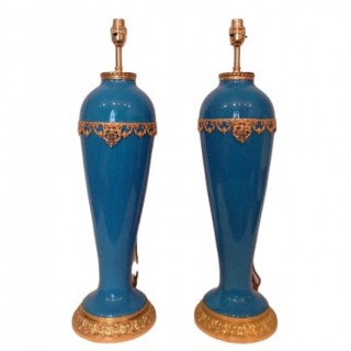 Pair Of French Late 19th Century Blue Sevres Porcelain Lamps