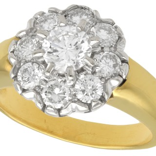 1.15ct Diamond and 18ct Yellow Gold Cluster Ring - Vintage French Circa 1980