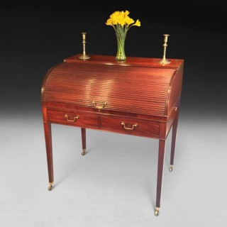 George III Period Mahogany Tambour Writing Table or Cylinder Bureau