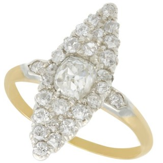 1.57 ct Diamond and 14 ct Yellow Gold Marquise Ring - Antique Circa 1900