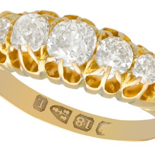 1.36ct Diamond and 18ct Yellow Gold Five Stone Ring - Antique Victorian