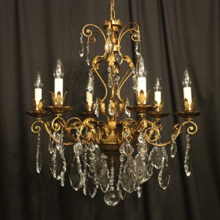 Italian Florentine 6 Light Gilded Chandelier