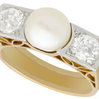 Pearl and 1.15 ct Diamond, 18 ct Yellow Gold Dress Ring - Art Deco - Vintage Circa 1940