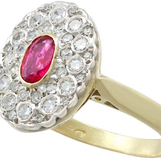 0.42 ct Ruby and 0.39 ct Diamond, 18 ct Yellow Gold Cluster Ring - Vintage Circa 1950