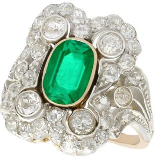 1.12ct Emerald and 1.23ct Diamond, 14ct Yellow Gold Dress Ring - Antique Austro-Hungarian Circa 1895