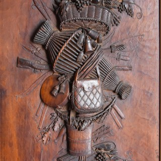 Exhibition quality finely carved mid 19th century Continental fruitwood trophy carving