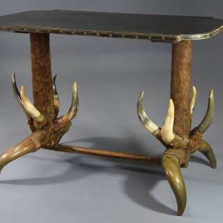 Late 19th century highly decorative & unusual German cow horn table