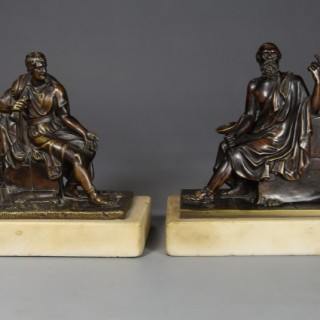 Fine quality pair of French bronzes of Socrates and Leon of Salamis