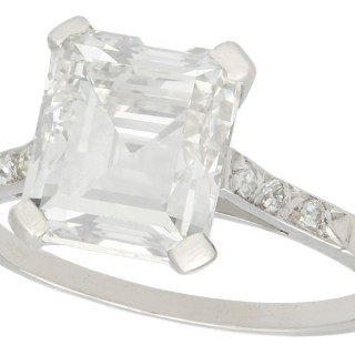GIA Certified 2.84ct Diamond and Platinum Solitaire Ring - Antique Circa 1930