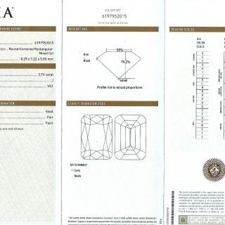 GIA Certified 2.84ct Diamond and Platinum Solitaire Ring - Antique Circa 1930