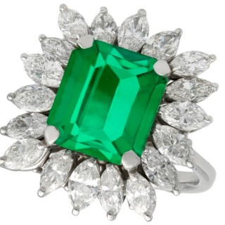 4.30 ct Emerald and 3.24 ct Diamond, 18 ct White Gold Ring - Vintage Circa 1990
