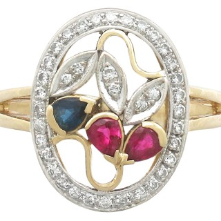 0.42 ct Ruby and 0.21 ct Sapphire, 0.30 ct Diamond and 18 ct Yellow Gold Dress Ring - Vintage Circa 1940