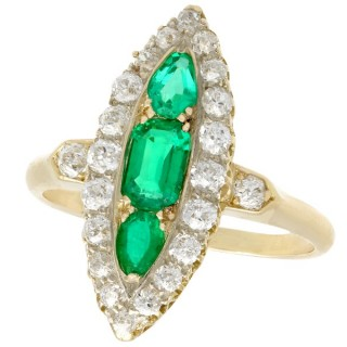 0.92ct Emerald and 1.38ct Diamond, 15ct Yellow Gold Marquise Ring - Antique Circa 1910