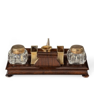 A Stylish William Iv Rosewood And Silver-Gilt Portable Desk Compendium
