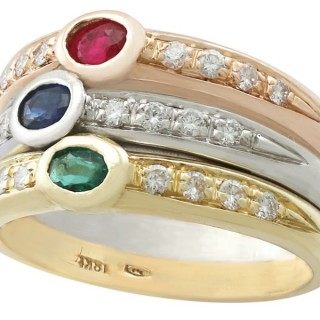 0.28 ct Ruby, 0.28 ct Sapphire, 0.18 ct Emerald, 0.60 ct Diamond and 18 ct Gold Dress Ring - Vintage Circa 1970