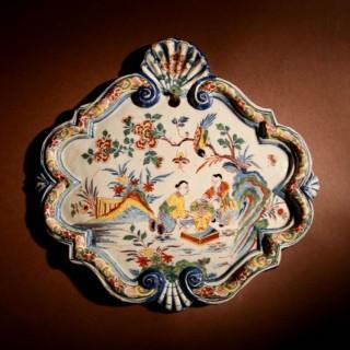 Very Decorative Original Dutch Delft Polychrome Chinoisserie plaque, circa: 1740.