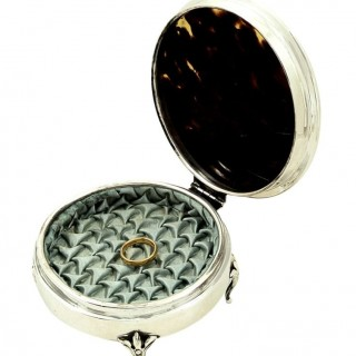 Antique Sterling Silver & Tortoiseshell with Mother of Pearl Inlay Trinket Box 1921