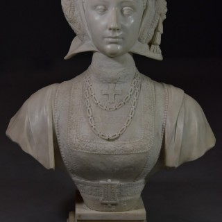 Finely carved 19thc lifesize carrara marble figure of Anne of Cleves (1515-1557) inscribed 'Anne de Cleve Reine', possibly Italian