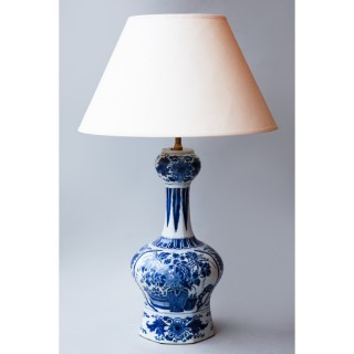 18th CENTURY DELFT BLUE AND WHITE VASE CONVERTED TO A LAMP