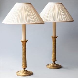 PAIR OF GILT BRONZE EMPIRE CANDLESTICKS CONVERTED TO LAMPS,