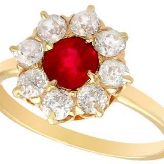 0.63 ct Ruby and 0.60 ct Diamond, 18 ct Yellow Gold Cluster Ring - Antique Circa 1930