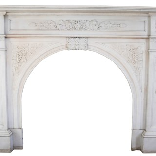 A Large Victorian Carved White Statuary Marble Fire Surround