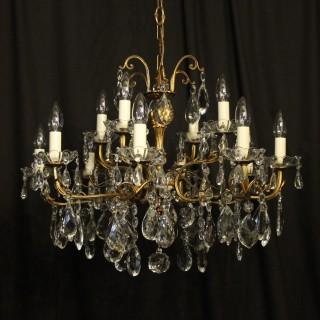 Italian 12 Light Gilded Bronze Antique Chandelier