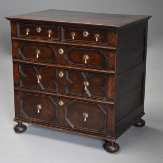 Late 17th/early 18th century oak moulded front chest of drawers