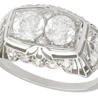 1.73 ct Diamond and Platinum Dress Ring - Art Deco - Vintage Circa 1940