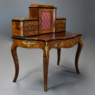 Mid 19th century fine quality burr walnut bonheur de jour in the French style