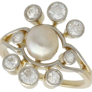 Pearl and 1.02 ct Diamond, 18 ct Yellow Gold Cluster Ring - Antique Circa 1930