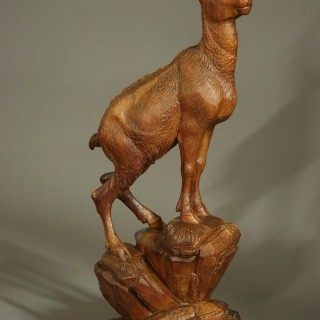 Late 19th century Black Forest finely carved linden wood figure of a chamois