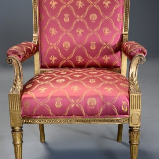 Late 19th century French carved giltwood fauteuil / open armchair of large proportions