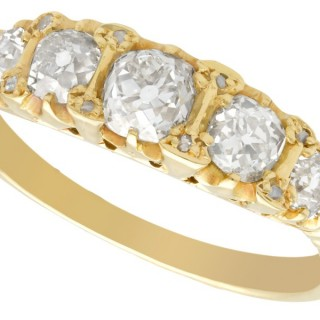 1.78 ct Diamond, 18 ct Yellow Gold, Five Stone Ring - Antique Circa 1890