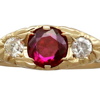 0.68 ct Ruby and 0.24 ct Diamond, 18 ct Yellow Gold Dress Ring - Vintage Circa 1940