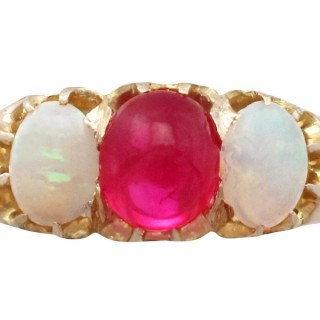 0.75 ct Ruby and 0.85 ct Opal, 14 ct Yellow Gold Trilogy Ring - Antique Victorian