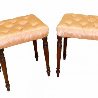 English Regency 19th Century Pair Of Mahogany Stools