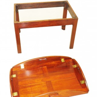 Late 18th Century Mahogany Oval Butlers Tray On Stand Coffee Table